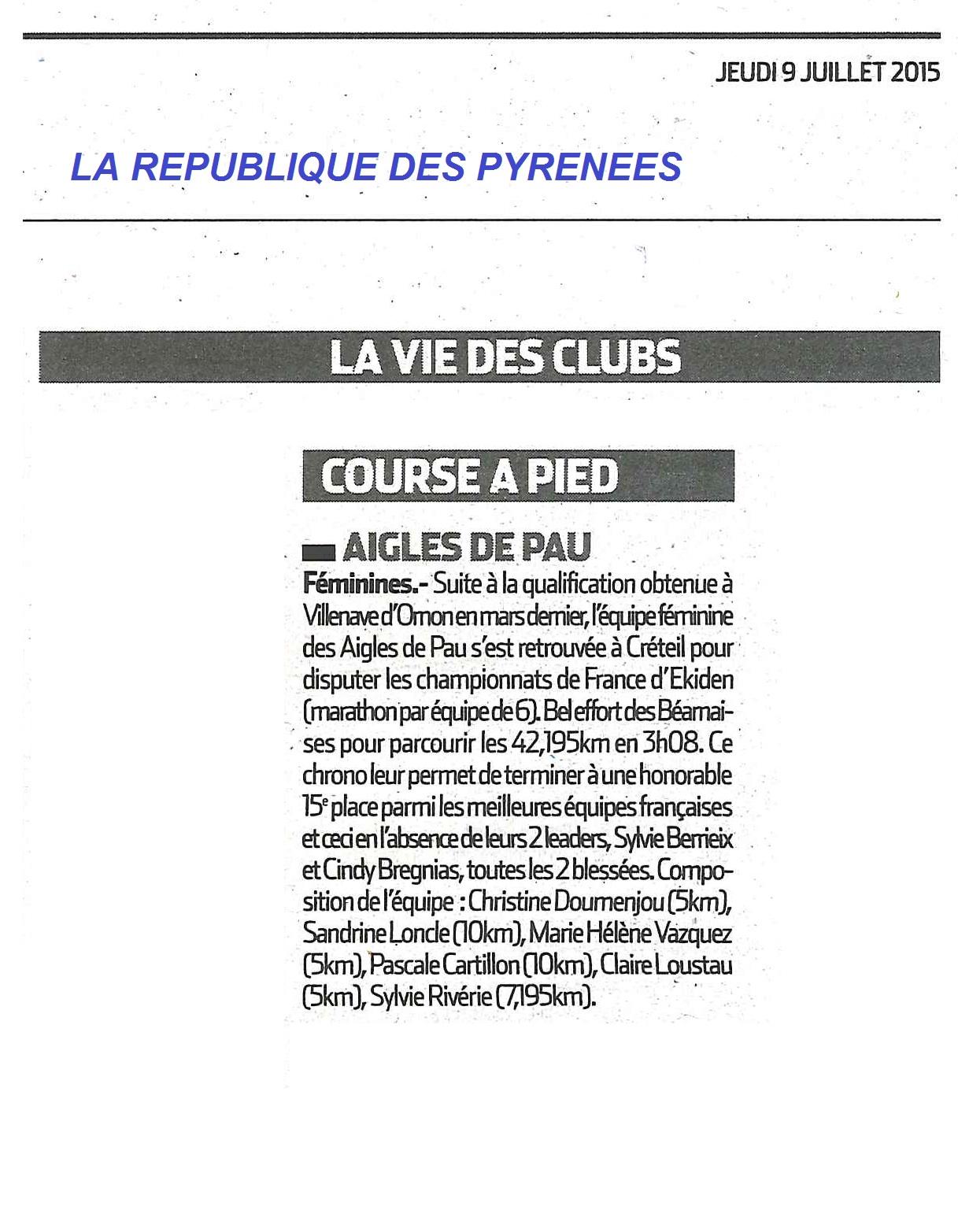 Vie des clubs - LaRep 9 juillet 2015